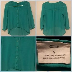 Pins and Needles green blouse